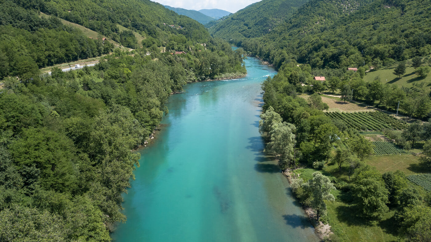 Drina rivier in Bosnië en Herzegovina